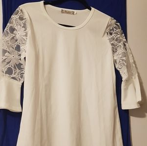 Purely white with flowery sleeves